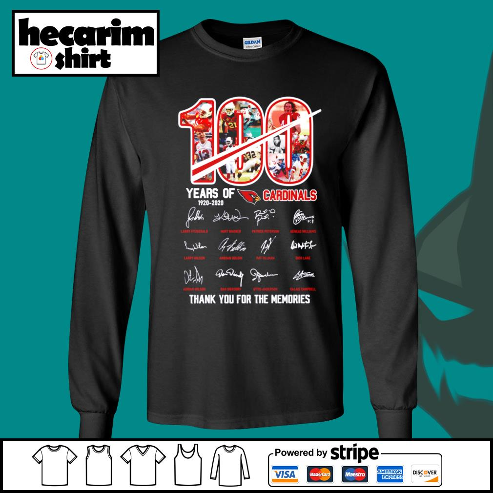 100 years of 1920 2020 St. Louis Cardinals thank you for the memories s Long-Sleeves-Tee