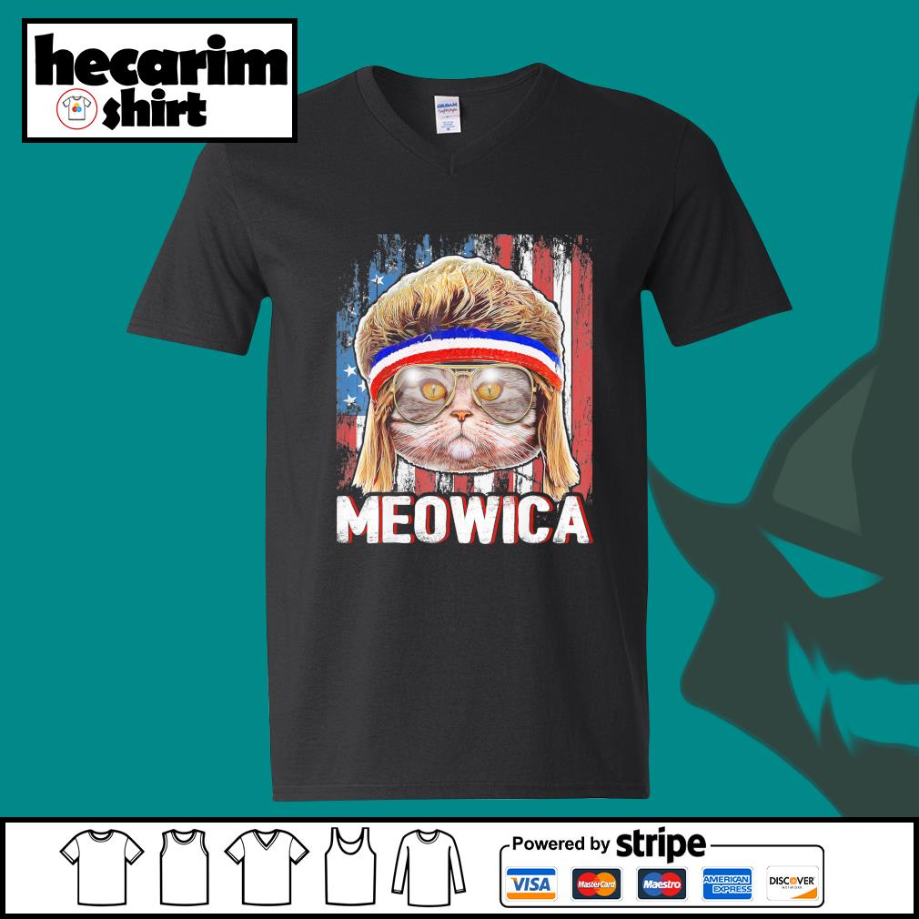 Cat Meowica flag American s V-neck-T-shirt