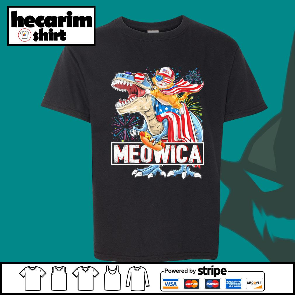 Cat riding T-rex Meowica American s Kid-T-shirt