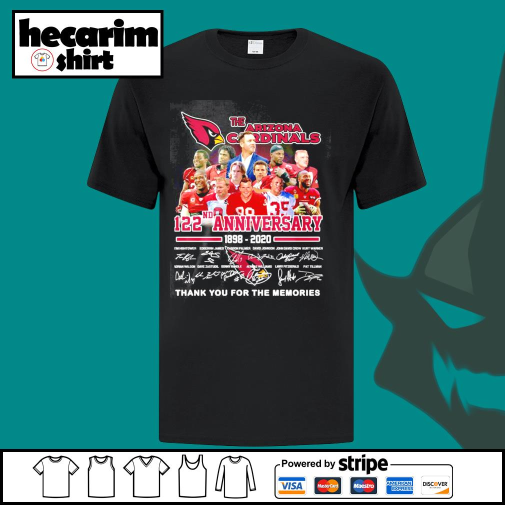 The Arizona Cardinals 122th anniversary 1898 2020 thank you for the memories shirt