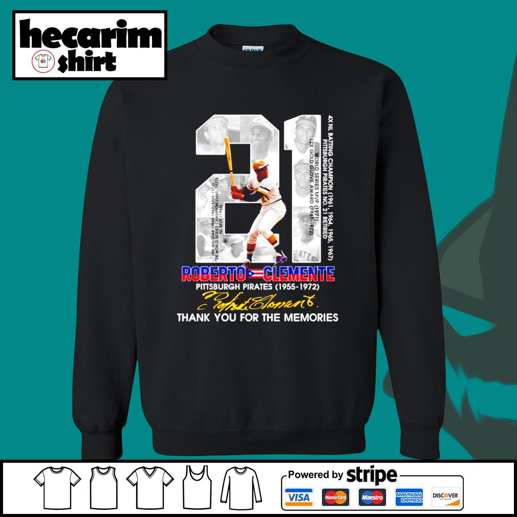 21 Roberto Clemente Pittsburgh Pirates 1955 1972 thank you for the memories signature s Sweater