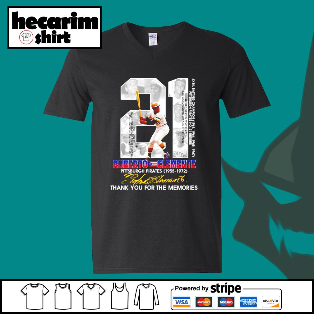 21 Roberto Clemente Pittsburgh Pirates 1955 1972 thank you for the memories signature s V-neck-T-shirt