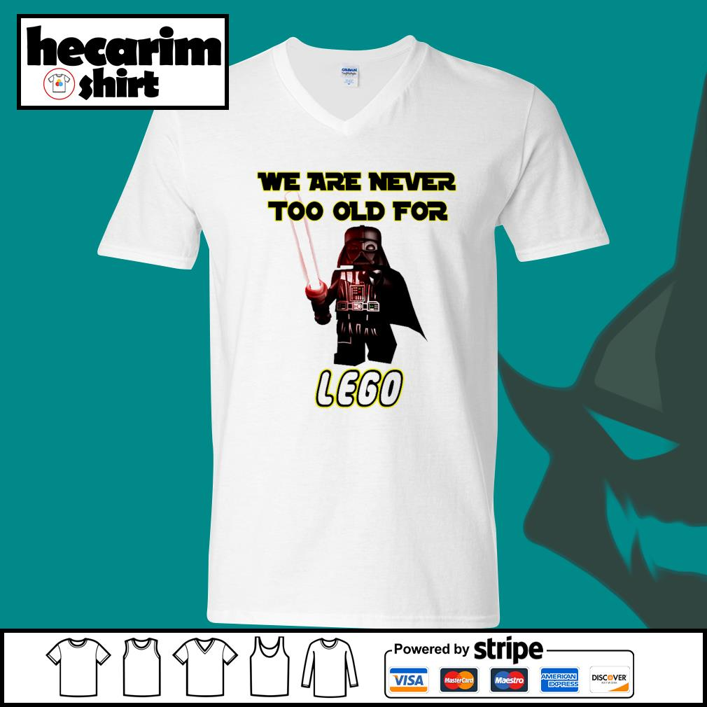 Darth Vader we are never too old for lego s V-neck-T-shirt