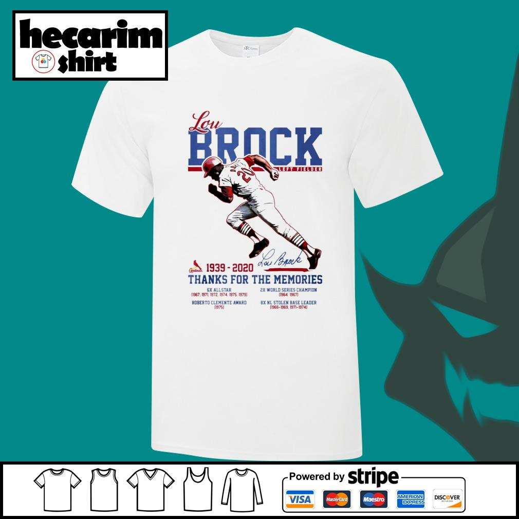 Lou Brock left fielder 1939 2020 thank you for the memories signature shirt