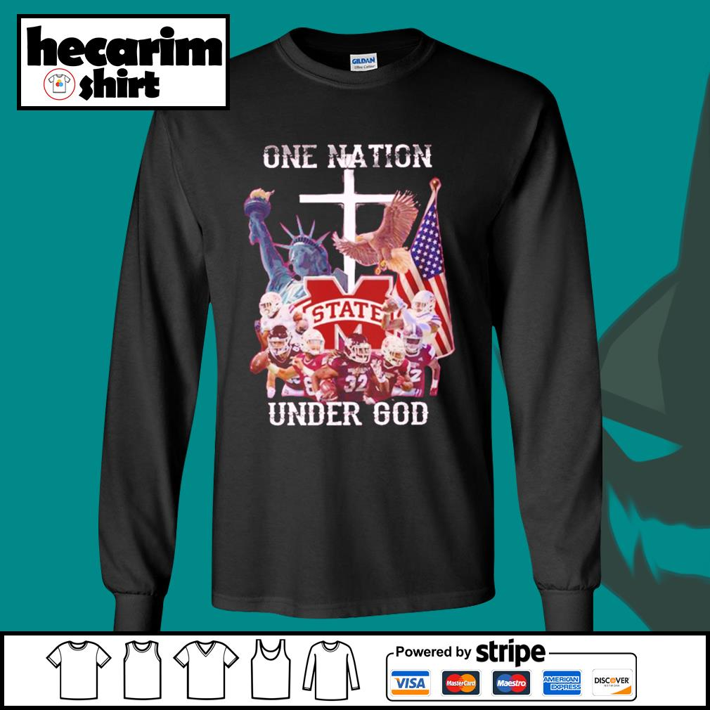 Mississippi State Bulldogs one nation under god s Long-Sleeves-Tee