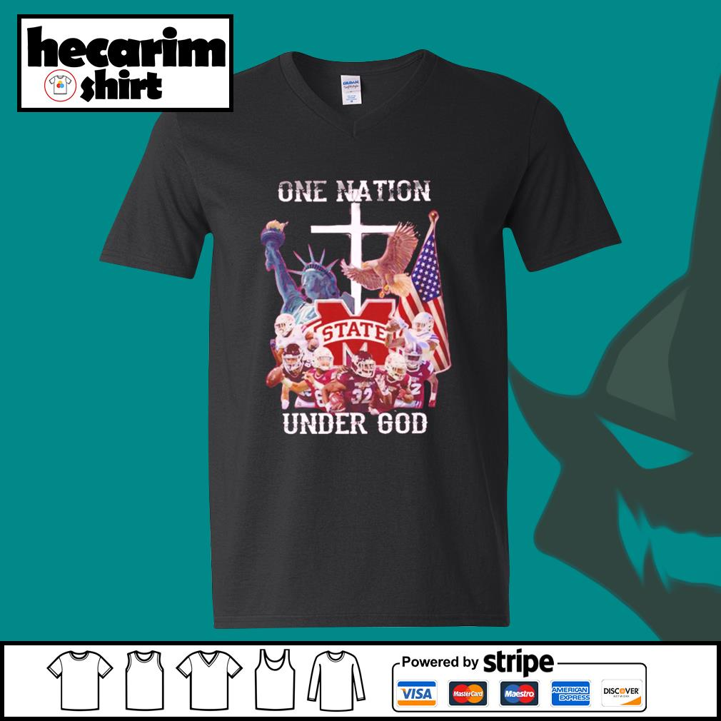 Mississippi State Bulldogs one nation under god s V-neck-T-shirt