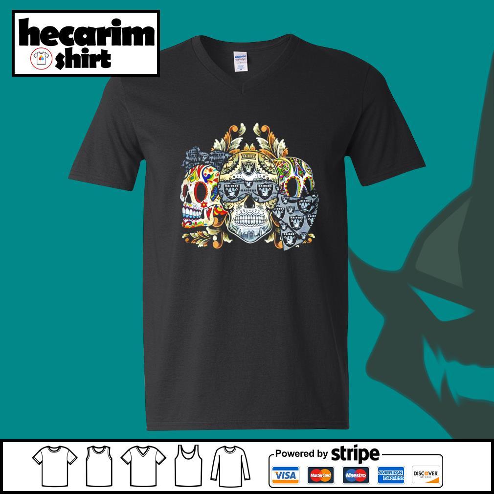 Three Skull Sugar Oakland Raiders s V-neck-T-shirt