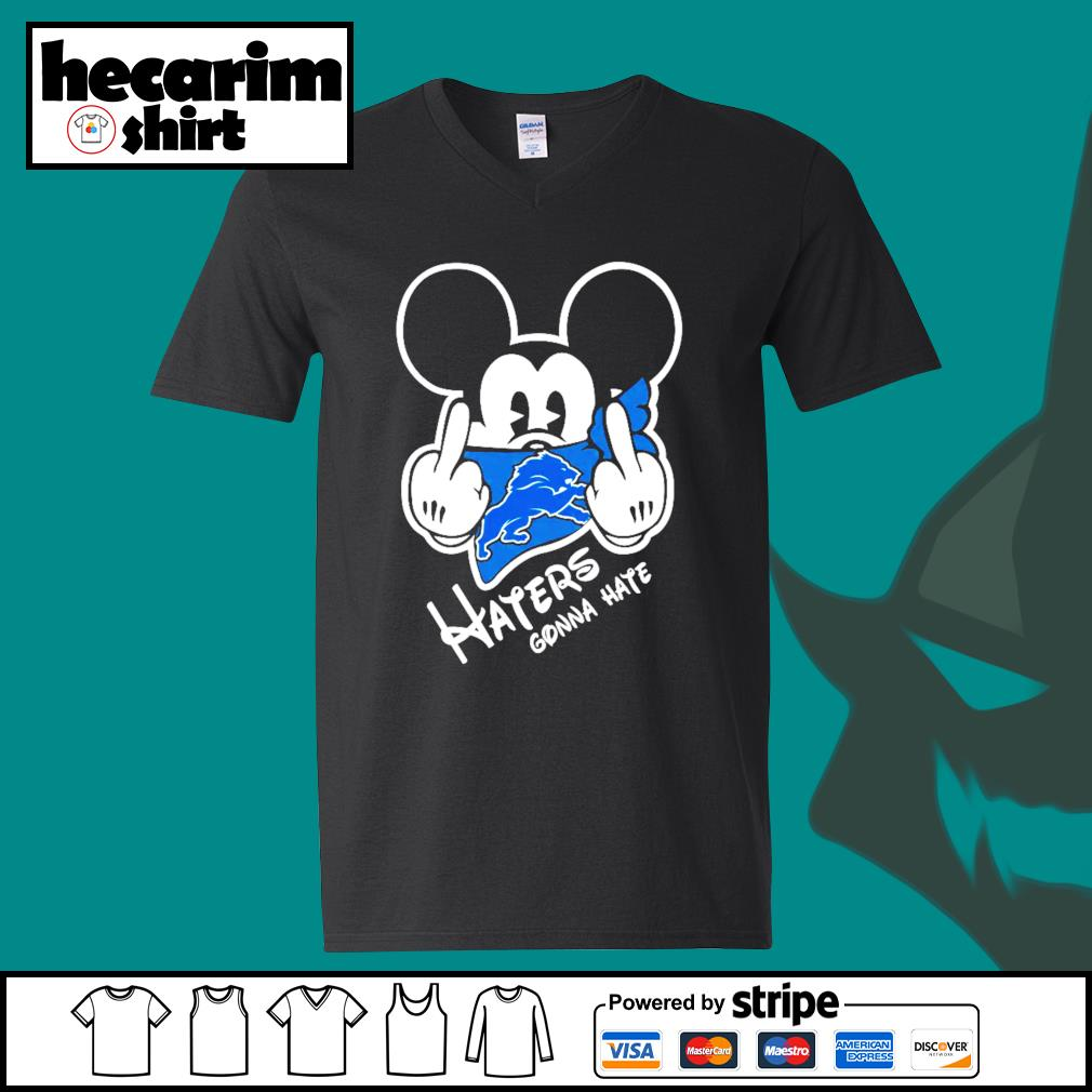 Mickey Detroit Lions haters gonna hate s V-neck-T-shirt